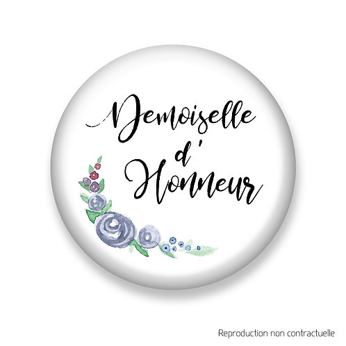 """Badge """"Fleurs Bleues"""" Demoiselle d'honneur"""