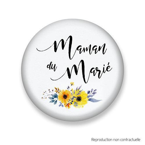 "Badge ""Fleurs jaune"" Maman du Marié"