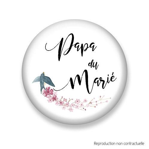"""Badge """"Oiseau"""" Papa du Marié"""