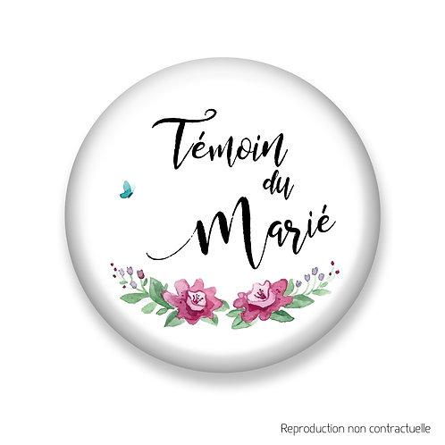 """Badge """"Rose & Papillon"""" Témoin du Marié"""