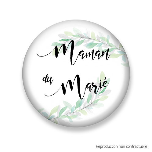 """Badge """"Feuilles d'olivier"""" Maman du Marié"""