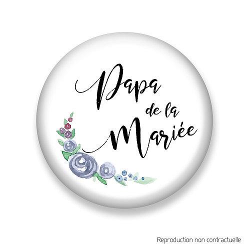 """Badge """"Fleurs Bleues"""" Papa de la Mariée"""