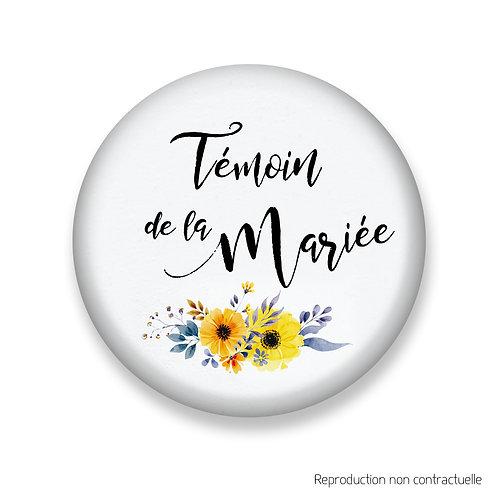 """Badge """"Fleurs jaune"""" Témoin de la Mariée"""