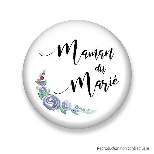 """Badge """"Fleurs Bleues"""" Maman du Marié"""
