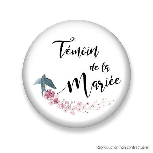 """Badge """"Oiseau"""" Témoin de la Mariée"""