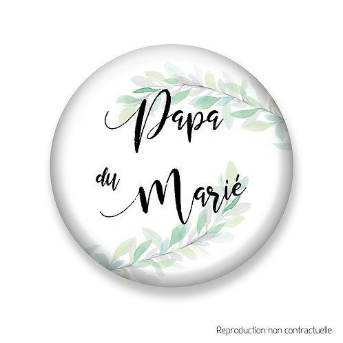 """Badge """"Feuilles d'olivier"""" Papa du Marié"""