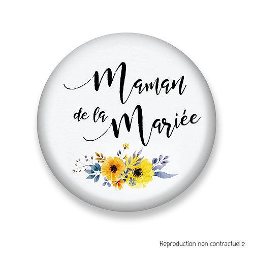 "Badge ""Fleurs jaune"" Maman de la Mariée"