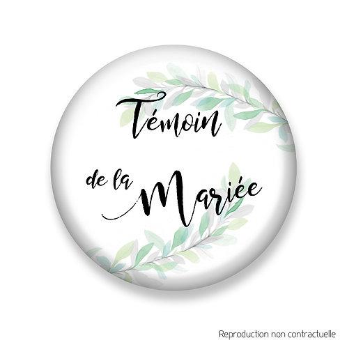 """Badge """"Feuilles d'olivier"""" Témoin de la Mariée"""