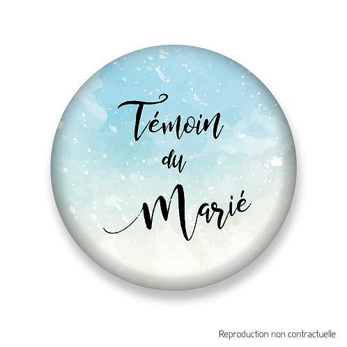 "Badge ""Bleu Aquarelle"" Témoin du Marié"