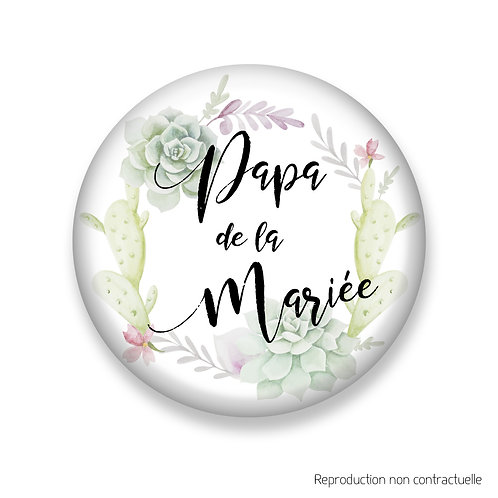 """Badge """"Succulents"""" Papa de la Mariée"""