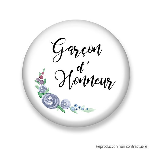 "Badge ""Fleurs Bleues"" Garçon d'honneur"