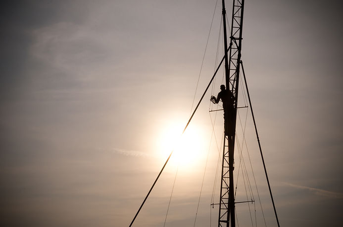 Climbing a sailing mast