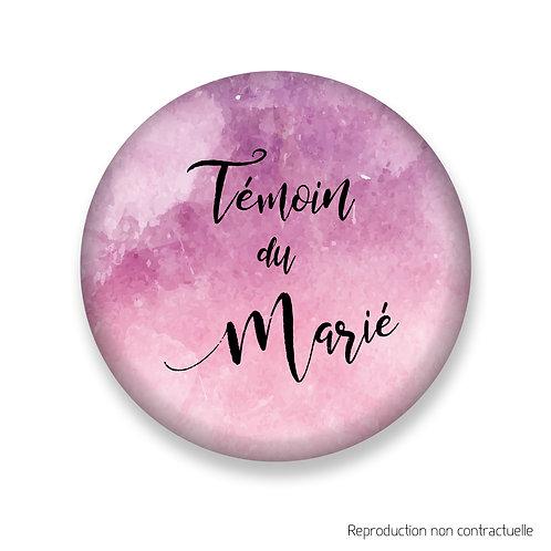 """Badge """"Rose Aquarelle"""" Témoin du Marié"""