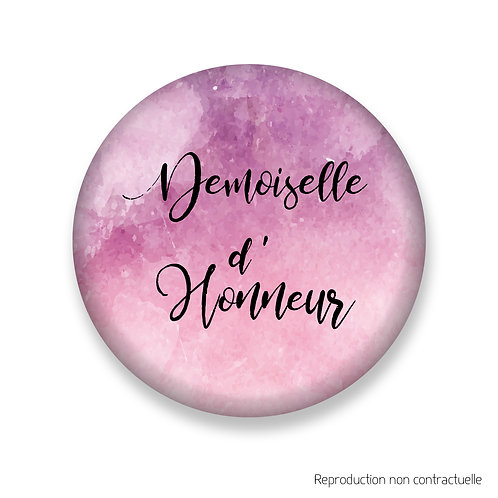 "Badge ""Rose Aquarelle"" Demoiselle d'honneur"