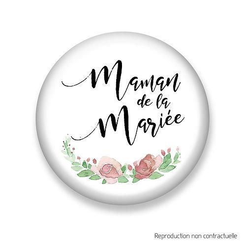 """Badge """"Fleurs Rose"""" Maman de la Mariée"""