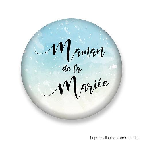 """Badge """"Bleu Aquarelle"""" Maman de la Mariée"""