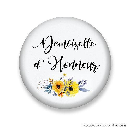 """Badge """"Fleurs jaune"""" Demoiselle d'honneur"""