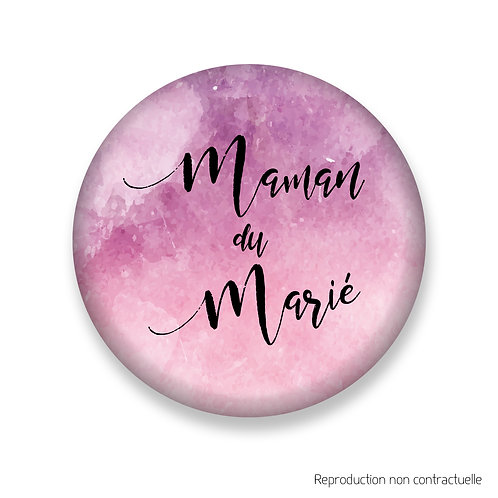 "Badge ""Rose Aquarelle"" Maman du Marié"