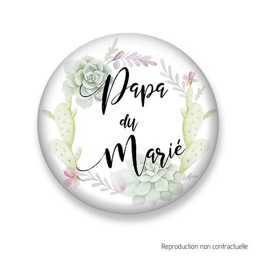 """Badge """"Succulents"""" Papa du Marié"""