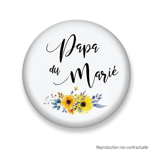 """Badge """"Fleurs jaune"""" Papa du Marié"""