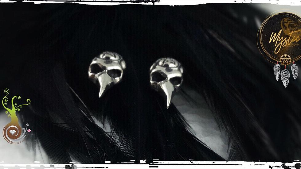 Boucle d'oreilles crow skull