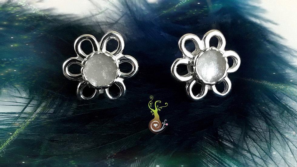 Boucles d'oreilles fleurs à 6 pétales