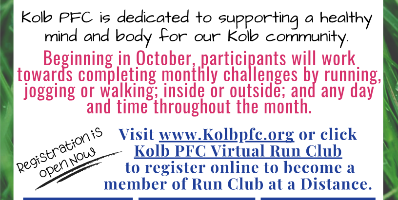 Kolb's Virtual Run Club starts October 1st - Sign Up Now!!!