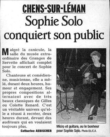 SOPHIE SOLO - ARTICLE DANS LE DAUPHINE L