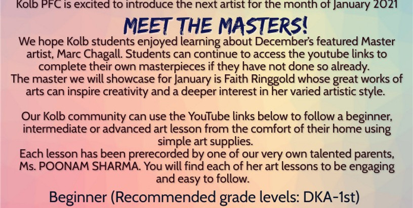 KOLB PFC'S ART PROGRAM - MEET THE MASTERS