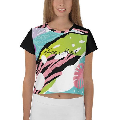 Free Mind Pop Art Pink/Black Crop Tee