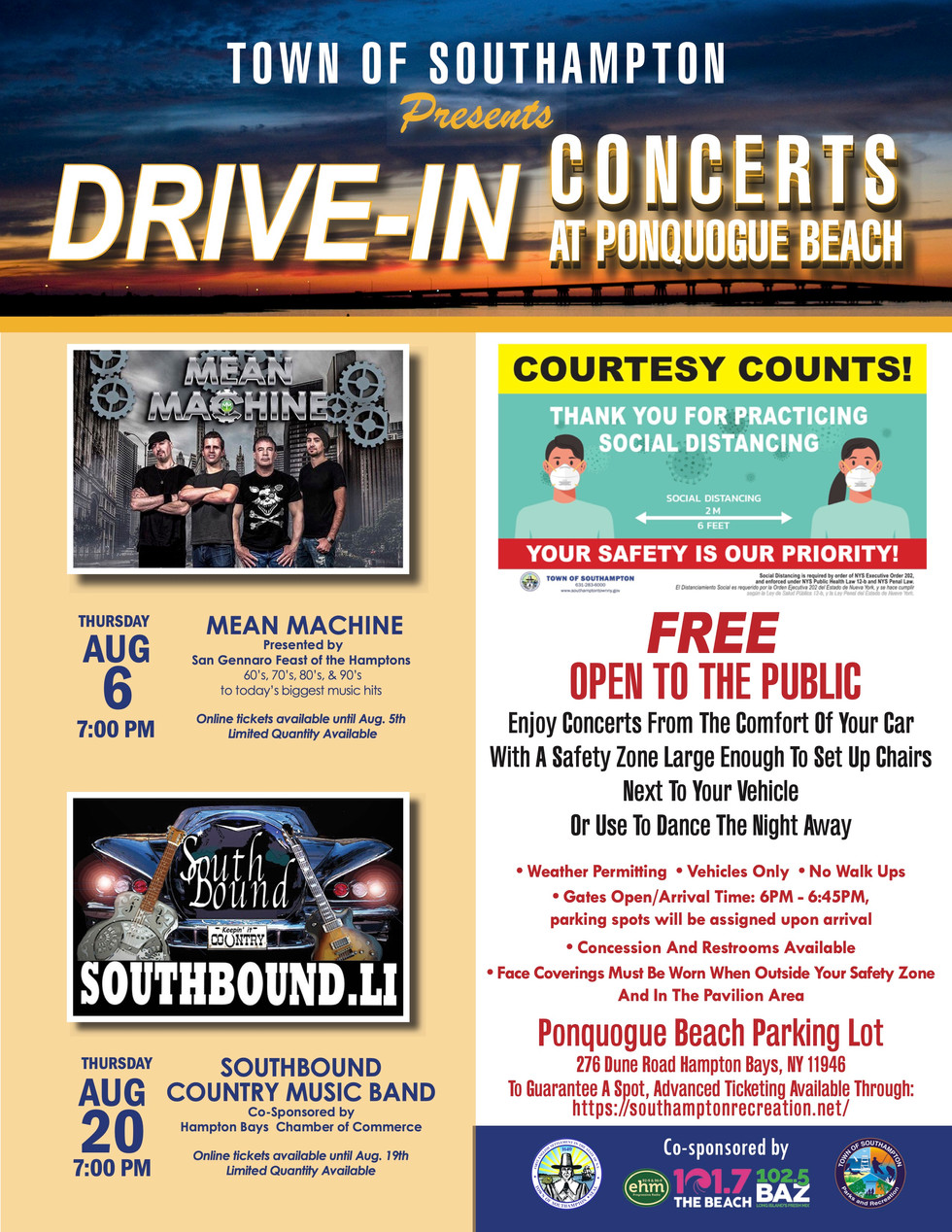 Drive-In Concerts at Ponquogue Beach