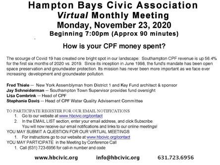 HBCA Nov Meeting:11/23/2020 @ 7:00PM-How is your CPF money spent?