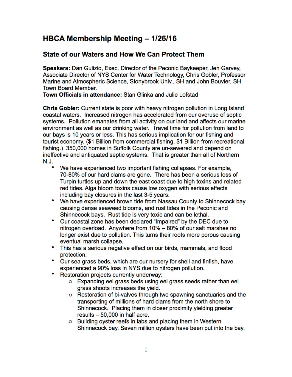 HBCA Membership Meeting - 1/26/16 - Minutes
