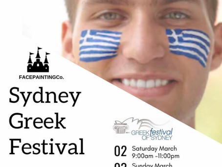 FacepaintingCo. attend the Sydney Greek Festival Darling Harbour