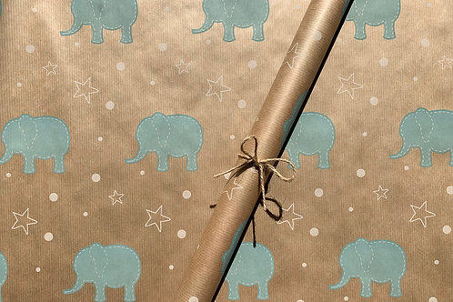 Baby Blue Elephant 4m Roll
