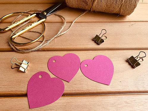 Hot Pink Heart Gift Tags - 10 pk