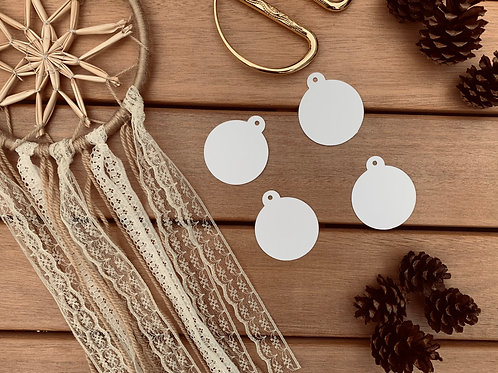 White Christmas Bauble Tags 10 Pk