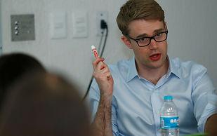 Tyler DeWitt giving a workshop to teachers