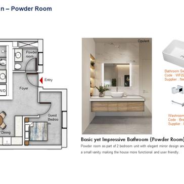 Powder Room Floor Plan (2 Bedroom)