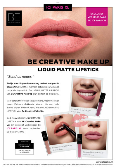 BE CREATIVE MAKE UP - Liquid Matte Lipstick
