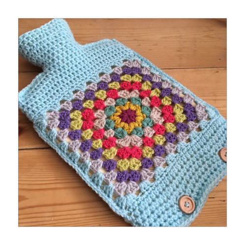 Funky Hot Water Bottle In A Granny Square Design Cover