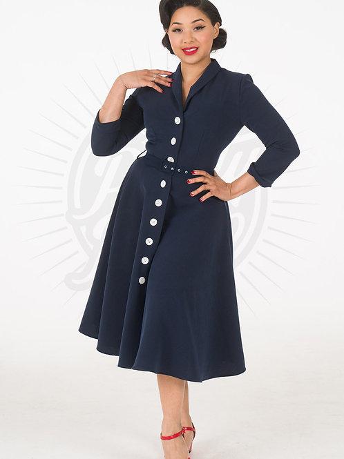 Retro 50s Shirtwaister Dress in Navy