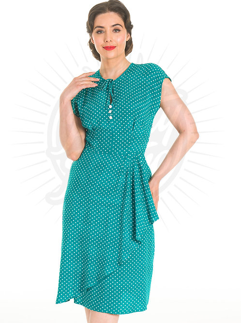 Veronica Tea Dress in Emerald Polka