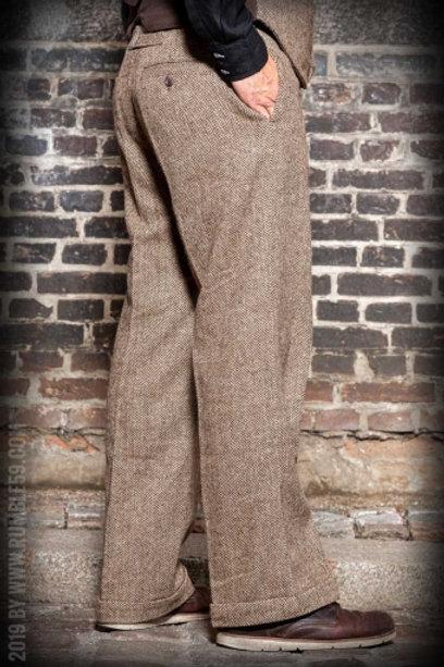 Vintage Loose Fit Pants Sacramento - Chevron beige/marron