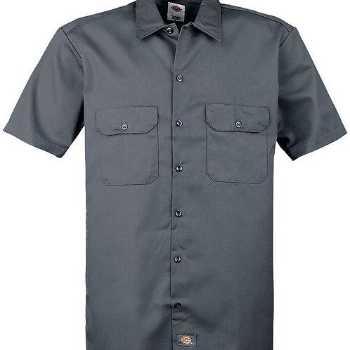 short sleeve slim work charcoal