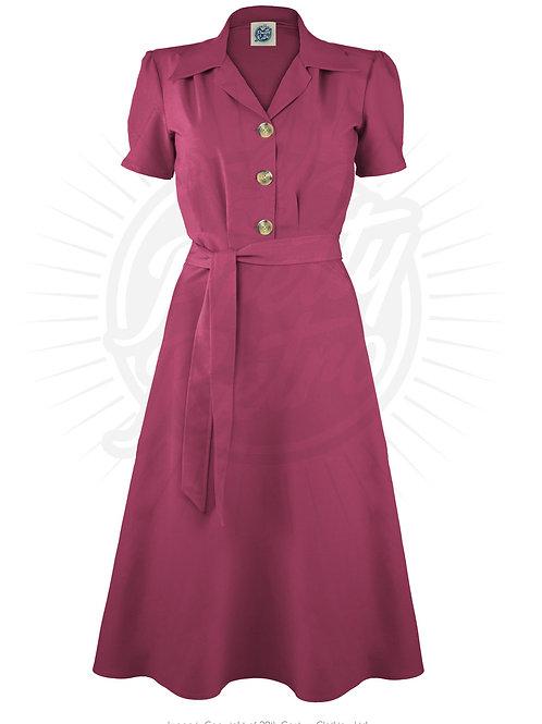 Pretty 40s Shirt Dress in Dark Rose