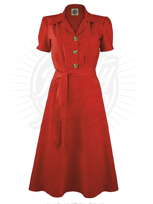 Pretty 40s Shirt Dress in Red