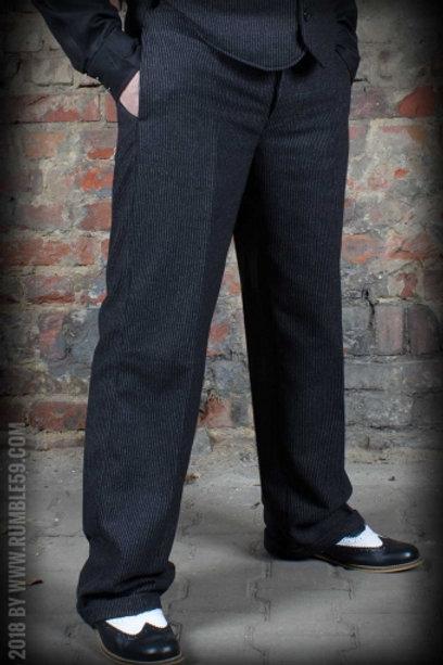Vintage Loose Fit Pants Sacramento - rayé noir/gris
