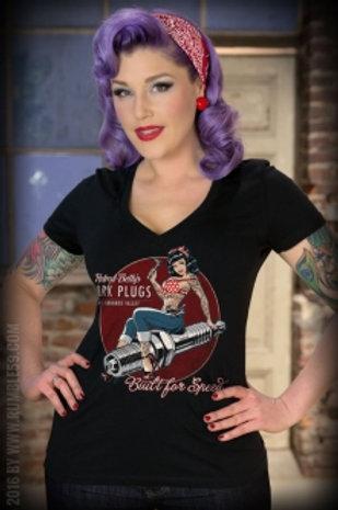 Ladies V-Neck Shirt - Hotrod Betty's Spark Plugs