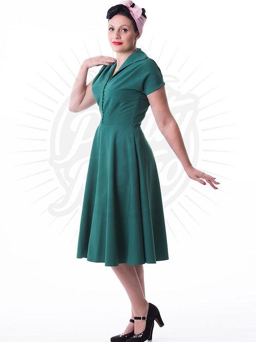Pretty 40s Hostess Dress in Emerald